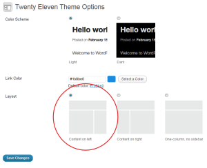 WordPress Theme 2011 - options to set the blog design layout