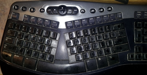 Microsoft Keyboard with the letters worn off - by Lorelle VanFosen
