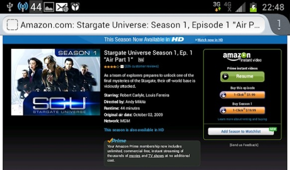 Amazon Instant Prime Videos poor interface example of play buttons right next to buy buttons.