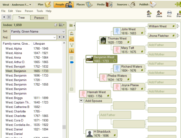 Family Tree Maker interface.