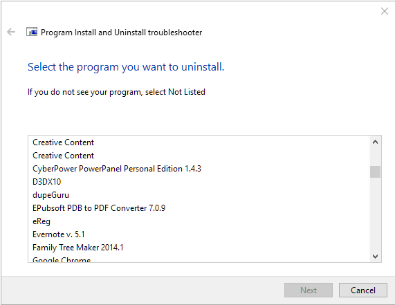 Microsoft Uninstall Troubleshooter for uninstalling programs that will not uninstall.