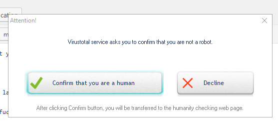 UnHackMe dialog to confirm you are human